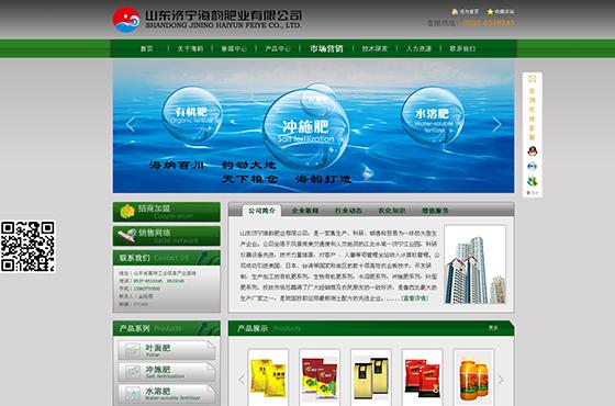 山东济宁海韵肥业公司网站设计