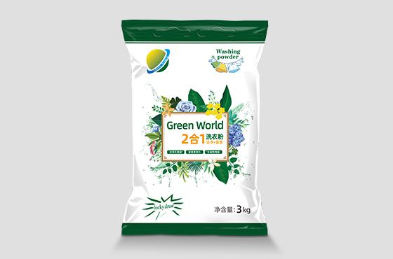 缅甸绿色世界品牌洗衣粉包装设计